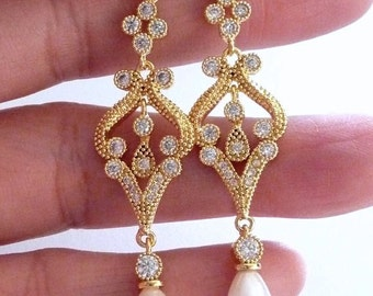 Bridal Earring - Teardrop Light Ivory Pearl with Yellow Gold Plated Chandelier Cubic Zirconia Fancy Post Earrings