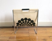Vintage Sixties Brabantia white leather and chrome magazine rack or magazine holder with black Op-art dots