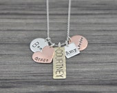 Five Name Hand Stamped Charm Necklace - Multiple Name Cluster Necklace - Personalized Grandma Jewelry