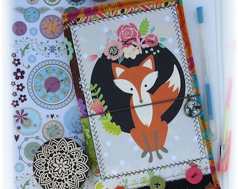 OOAK Fauxdori, Fabric Collage Midori, Fox Fauxdori, Traveler's Notebook, Free Insert!