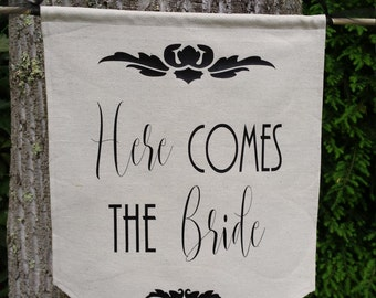 Here Comes The Bride, Canvas Banner, Rustic Wedding, Burlap Wedding, Wedding Banner, Ceremony Banner