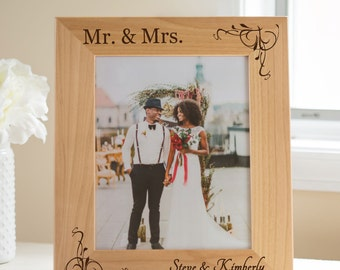 Personalized Mr. & Mrs. Wedding Picture Frame: Custom Engraved Mr Mrs Picture Frame, Personalized Wedding Frame SHIPS FAST