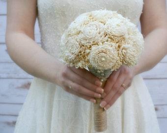 Natural Babys Breath Wedding Bouquet // Cream Ivory, Bridal Bouquet, Sola Wood, Flower Bouquet, Simple Bouquet, Dried Flowers, Sola Bouquets