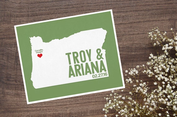 Oregon Personalized Wedding Art, State Map Print, Bride & Groom Names and Date, Any State Available, Choice of Colors