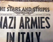 The Stars and Stripes military newspaper, WWII, 1945 news, Italian edition, Mediterranean edition, war news