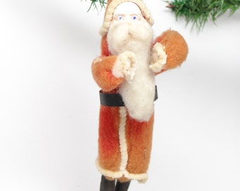 1940's Santa Christmas Ornament, Hand Painted Clay Face, Cotton Beard