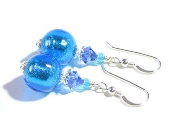 Murano Glass Aqua Silver Ball Dangle Earrings, Clip On Earrings For Women, Venetian Jewelry, Italian Jewelry, Sterling Leverback Earrings