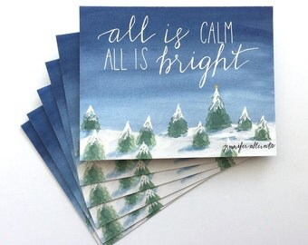 s/6 Christmas card set all is calm all is bright winter scene hand lettering holiday card
