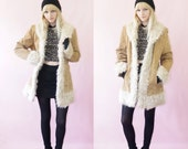 Penny Lane 90's Suede and Shag Fur Coat By Giacca, Almost Famous, 90s Winter Duster Coat, Size Small/Medium