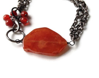 Orange Carnelian Bracelet  Natural Bracelet, Healing Bracelet, Carnelian Chain Bracelet