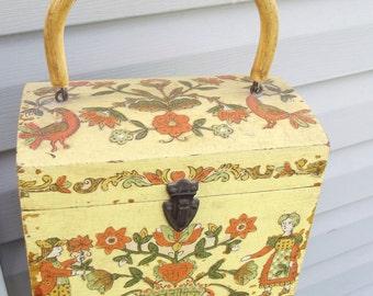Wooden Vintage Box Purse / Wood Box / Handle / decoupage / yellow / orange / vintage images / hinged lid / altered art / floral / birds