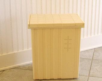 Vintage Festival Brand Retro Atomic Ivory Off White Cream w/ Silver Gold Foil Detail Laundry Hamper Basket Trash Bin Kitchen Garbage Can