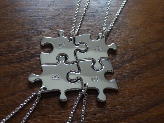 Four Initial Stamped Silver Pendant Necklaces