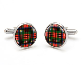 Scottish Cufflinks - Pattern Cufflinks - Red Tartan Plaid Cufflinks - Scottish Jewelry - Suit Accessories - Cool and Unique Gifts for Men