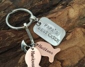 Personalized Hand Stamped Fishing Keychain, Dad's best catch, Papa's best catch with kids names