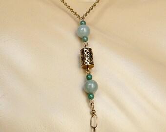 Antique Jade 14K Gold Necklace, Art Deco Jade, Chinese Green Jade Necklace, 14K Gold Jade Drop Necklace, OOAK