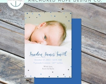 Baby Boy Birth Announcement - Blue & Gray - Birth Announcement - 5x7 - Photo - Digital File - Cardstock - Print