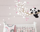 Panda and Cherry Blossom Branch with Butterflies, Panda Decal, Panda Vinyl Wall Decal for Nursery, Kids, Childrens Room 027