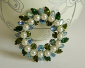 Authentic Signed Sherman Blue & Green Rhinestone Wreath Brooch with Faux Pearl Accents- Designer Canada 1950s Elegant Spring Glamour AB