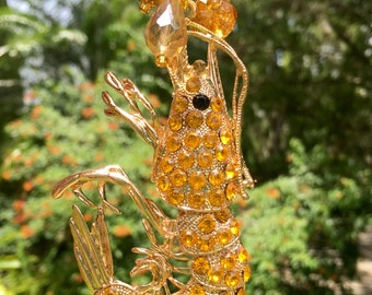 GOLDEN SHRIMP  Tree Jewelry Christmas Ornament Shrimp Crawfish