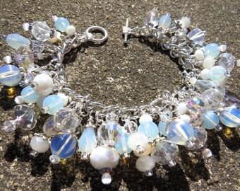 OPAL DREAMS Lovely Opal Style Glass and Crystal Charm Bracelet ooak