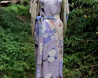 Swallow Print Japanese Silk Kimono Dress