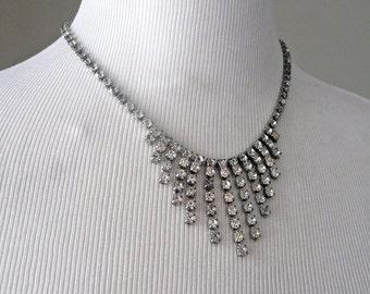 Vintage Rhinestone Necklace Chevron Bib Necklace - Glam, Art Deco Style, Vintage Wedding