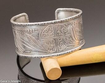 HARVEST Etched Sterling Silver Cuff Bracelet w Kokopelli Motif