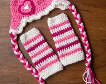 Newborn Beanie with Braids and Leg Warmers