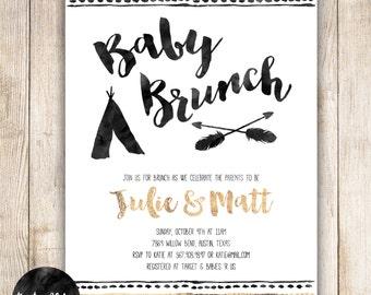 Baby Brunch, Baby Shower Brunch, Tribal Baby, Aztec, TeePee, Arrows, Black, White, Gold, Watercolor, DIY Custom Baby Shower Invitation - 018