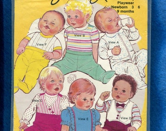 Vintage 1980's Sew Easy 169 Baby Clothes Sewing Pattern Sizes NB to 6 Months UNCUT