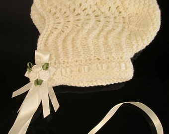 Ivory - Baby bonnet made from Victorian pattern, 16 - 18ins FREE p&p in UK