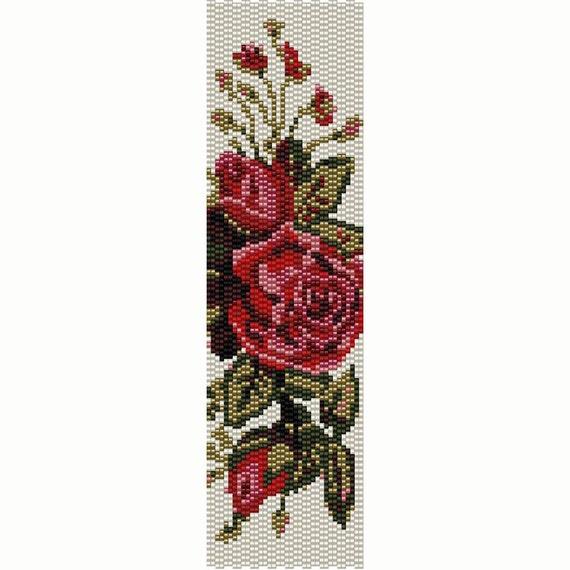 Vintage Flowers 4 Peyote Bead Pattern, Bracelet Cuff