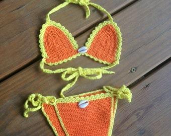 Baby Crochet Bikini Orange Yellow with Little Shells