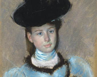 Mary Cassatt Pastel Reproductions - The Black Hat, c.1890.  Fine Art Print.