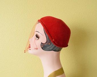 Vintage c. 1960's Red Velvet Capulet Hat with Red Veil
