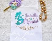 Mermaid lavender aqua gold birthday shirt, Birthday shirt, Mermaid shirt, Baby First Birthday Shirt, 1st Birthday outfit, mermaid outfit