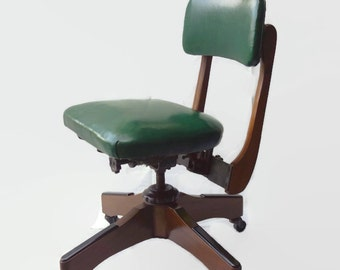 Mid Century Gunlocke Wood Office Chair Tanker Swivel Wheels