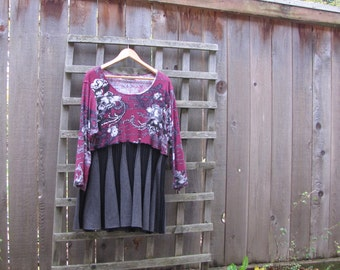 Floral Boho Tunic Top/Black Maroon Upcycled Eco Blouse/Womens Babydoll Sweater Shirt 1X XL
