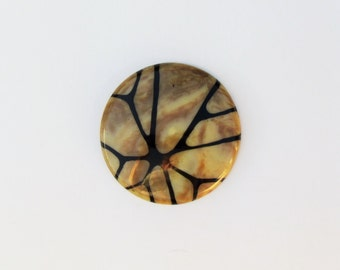 Vintage extra large celluloid button, modernist button in marbled earth tones accented with black, c.1930 coat or jacket button