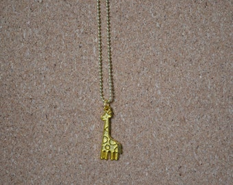 Gold Giraffe  Charm Long Necklace. Animal Necklace. Everyday. Layering Necklace. Gift for her. Teen girl. Christmas gift. Birthday.