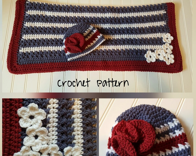 Crochet Pattern, American Flag blanket pattern-4th of July Vintage Beanie Crochet Pattern, newborn photo prop, baby blanket pattern