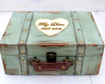 Keepsake Box Memory Box Baby Child Suitcase Trunk Time Capsule Anniversary Box (MEDIUM)