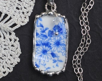 Necklace, Broken China Jewelry, Broken China Necklace, Blue and White China, Sterling Silver, Soldered Jewelry