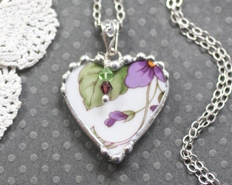 Necklace, Broken China Jewelry, Broken China Necklace, Heart Pendant, Purple Violets, Sterling Silver, Soldered Jewelry