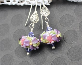 Lampwork Bead Earrings, Lampwork Bead Jewelry, Dangle Earrings, Pink and Purple Floral Chintz, Sterling Silver