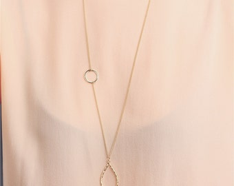 Delicate simple everyday long leaf necklace