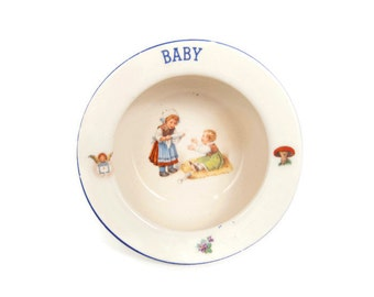 Antique BABY BOWL Czechoslovakia Childs Feeding Bowl Czech Baby Cereal Bowl Dutch Girls Motif