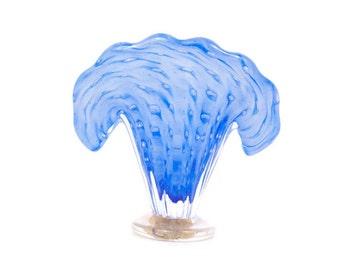 Vintage Murano Barovier Toso Blue Art Glass Fan Shape Clam Shell Encased Gold Inclusions Controlled Bullicante Bubbles Italian