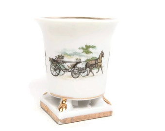Vintage Horse and Carriage Toothpick Holder Urn Shaped Bone China Gilt Trim Trinket Holder White Planter Vanity Cup